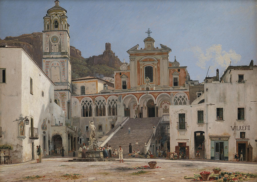 View of the Square in Amalfi by Martinus Rorbye