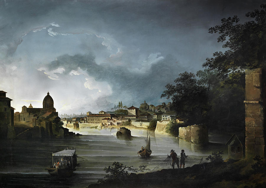 Michael Painting - View Of The Tiber With The Church San Giovanni Dei Fiorentini by Michael Wutky