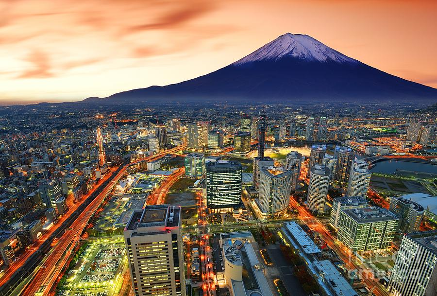 Mt. Fuji Photograph - View Of Yokohama And Mt. Fuji In Japan by Sean Pavone