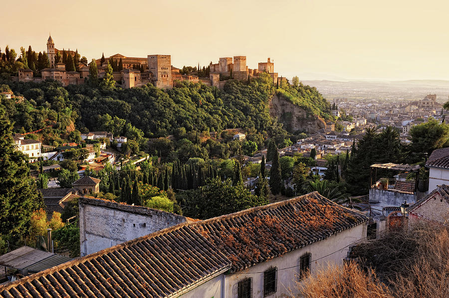 View On Alhambra At Sunset Photograph by Hans-martens
