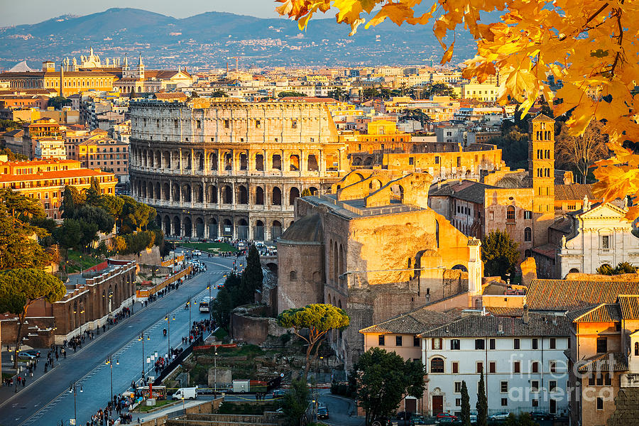 City Photograph - View On Colosseum In Rome Italy by S.borisov