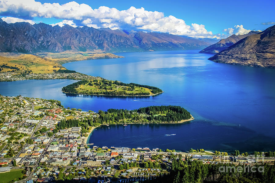 View on Queenstown from Bob's Peak, New Zealand by Lyl Dil Creations