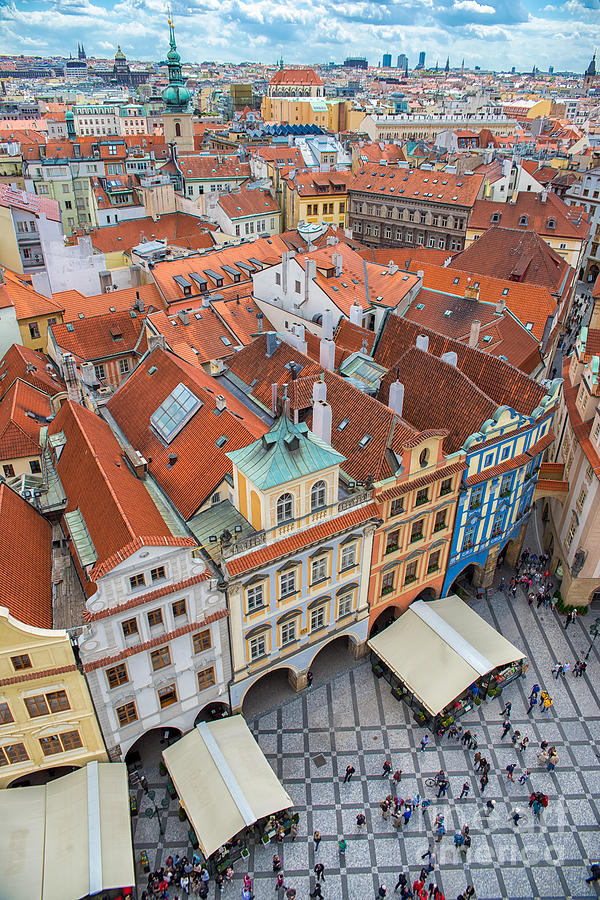 Crowd Photograph - View Over The Rooftops Of The Old Town by Badahos