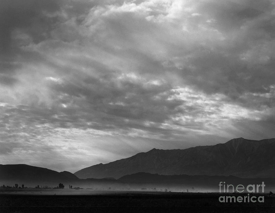 View SW over Manzanar, dust storm, California, 1943  by Ansel Adams