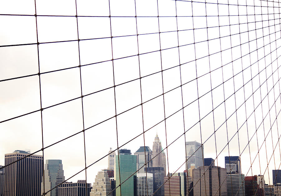 View To Nyc Through Brooklyn Bridge Photograph by Thomas Northcut