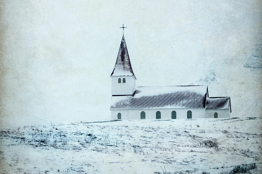 Vik i Myrdal Church in Snow by Kathryn McBride