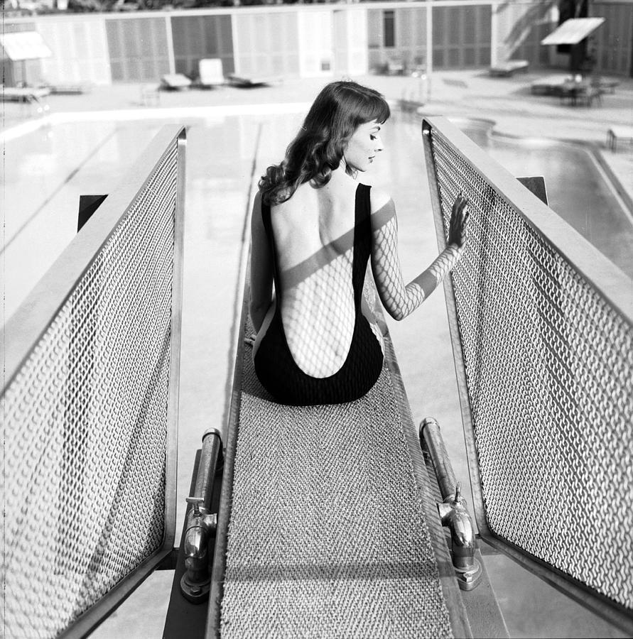 Vikki Dougan In Backless Swimwear Photograph by Ralph Crane