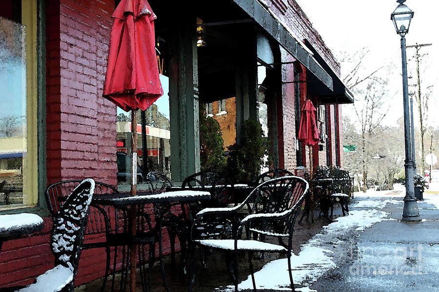 Village Cafe Snow Impression by Robert M Seel