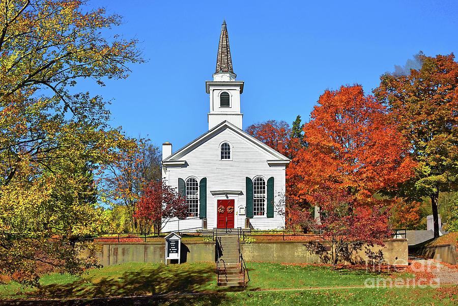 Village Church Framed in Fall Colors by Regina Geoghan