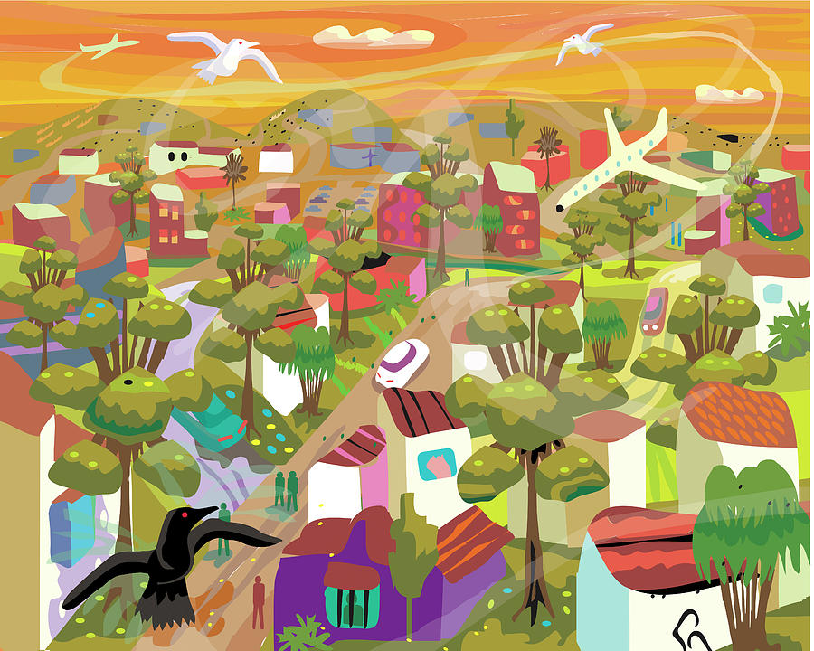 Village In Movement And Child Like Digital Art by Charles Harker