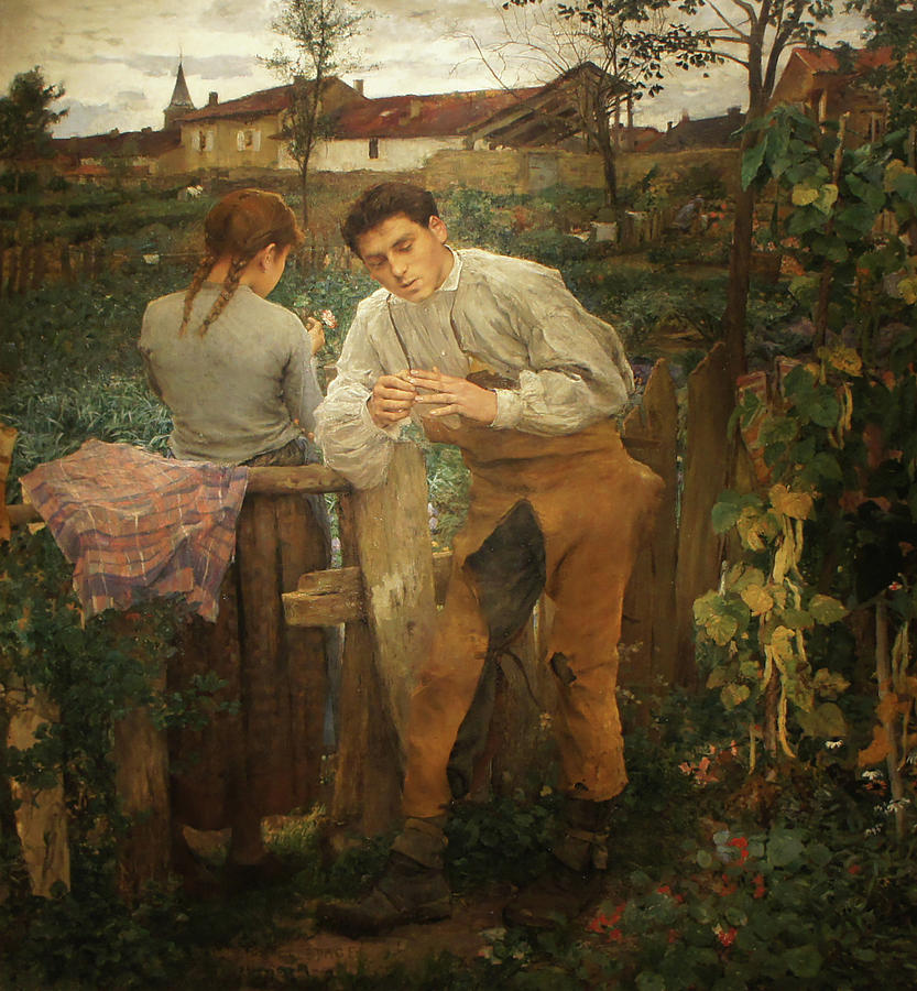 Village Lovers Painting by Jules Bastien-Lepage