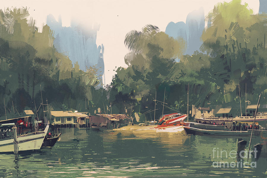 Rural Digital Art - Village On The Bank Of by Tithi Luadthong