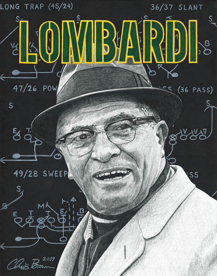 Vince Lombardi Drawing - Vince Lombardi by Chris Brown