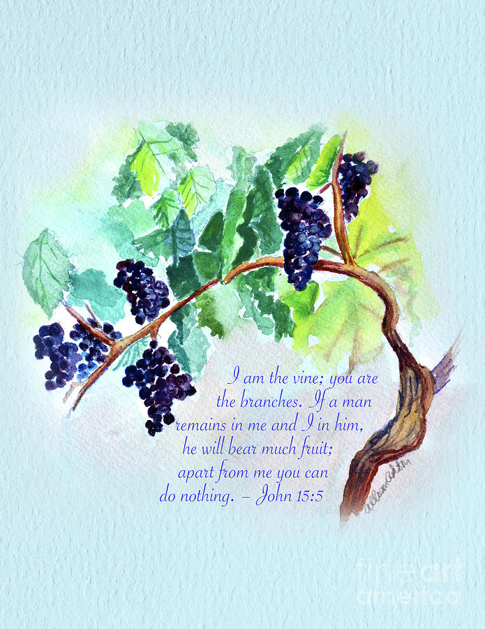 Vine And Branch With Scripture - Vertical Painting