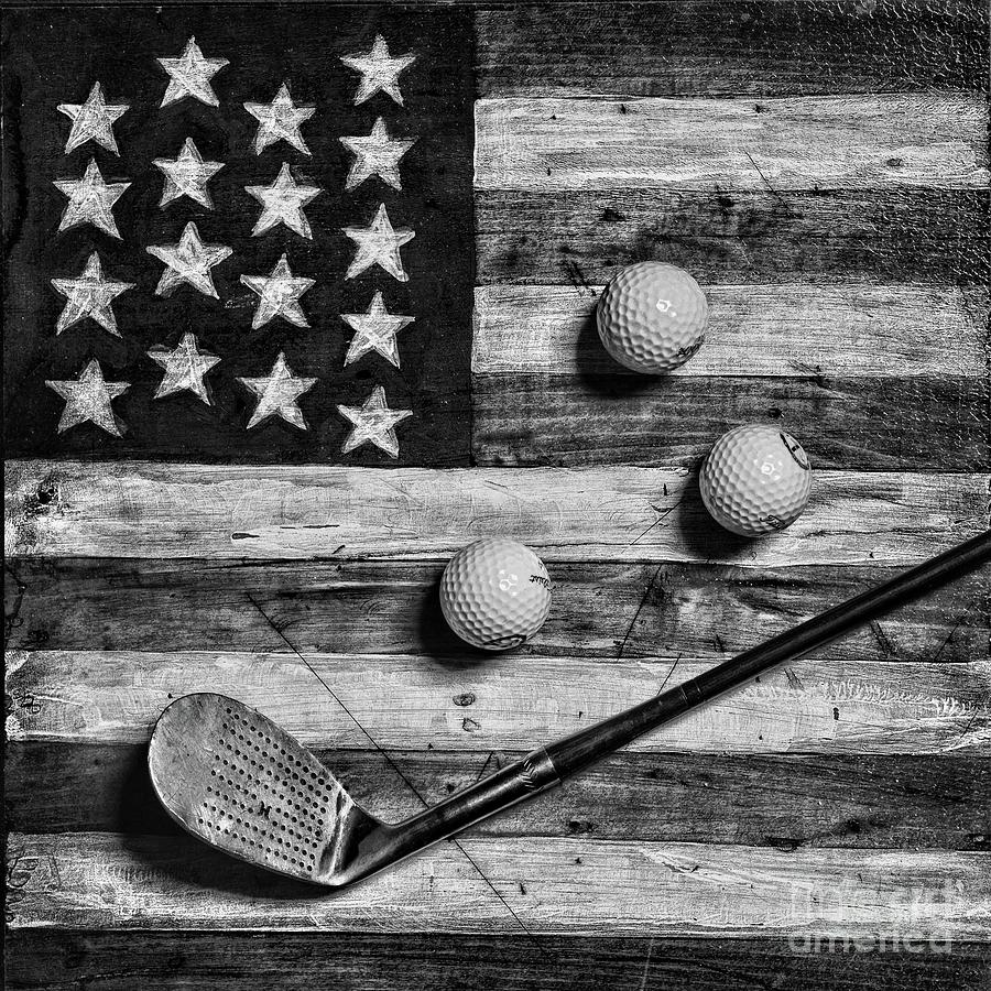 Vintage 8 Iron And Golf Balls On American Flag Square Format Black And White Photograph By Paul Ward