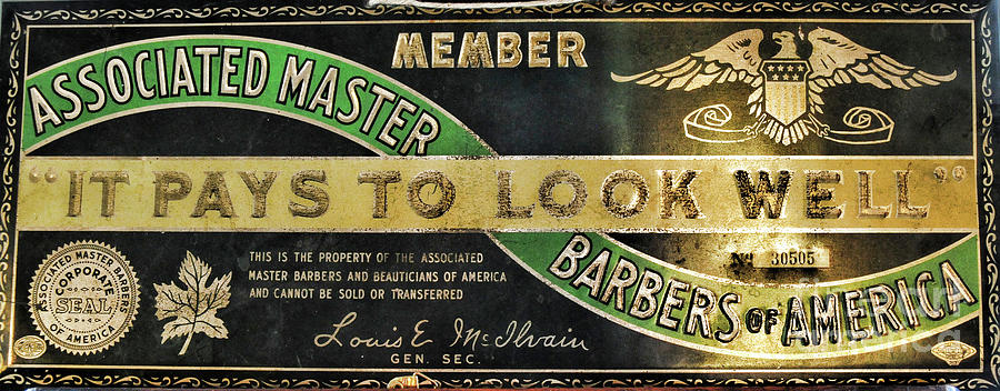 Paul Ward Photograph - Vintage Associated Master Barber Sign by Paul Ward