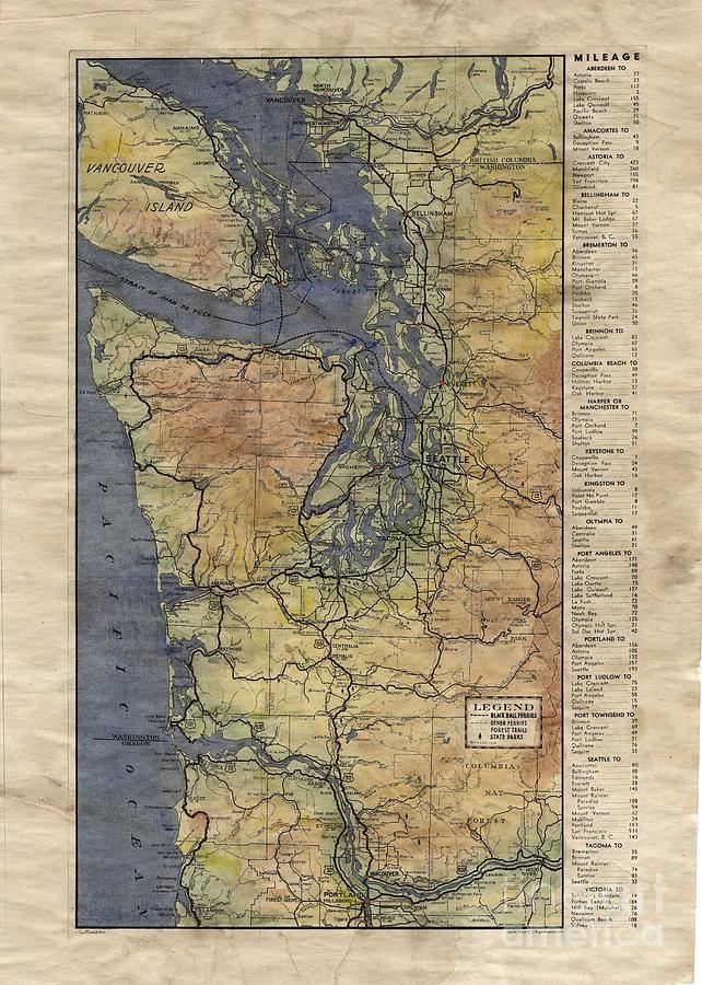 Vintage Auto Map Western Washington Olympic Peninsula Hand Painted