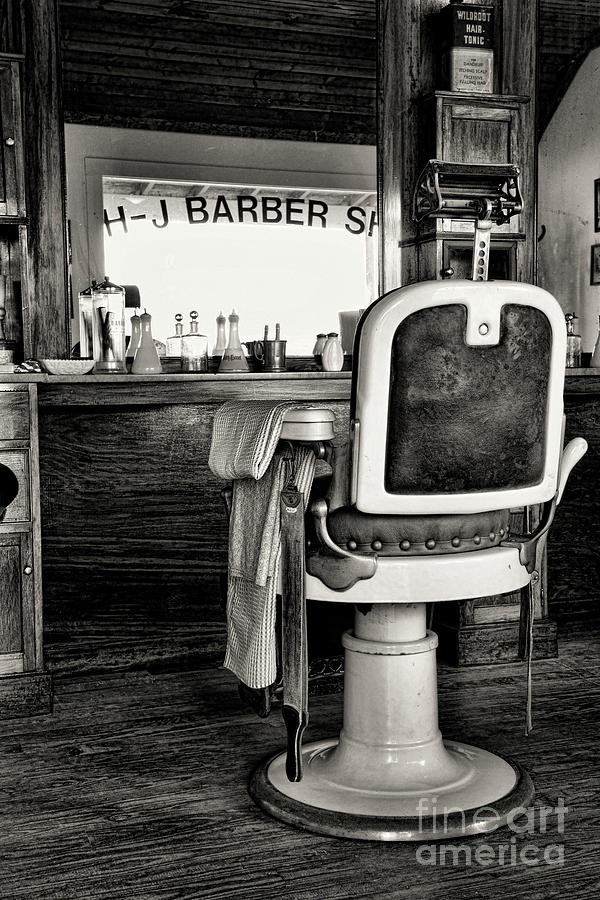 Barber Photograph   Vintage Barbershop Chair In Black And White By Paul Ward