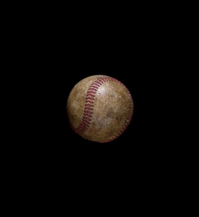 Vintage Baseball On Black Background Photograph by Chris Parsons
