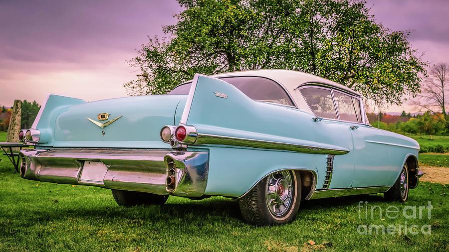 Cadillac Photograph - Vintage Blue Caddy American Vintage Car by Edward Fielding