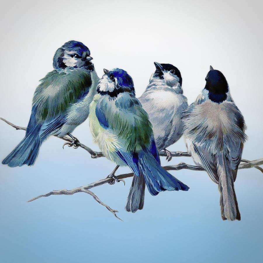 Design Mixed Media - Vintage Bluebirds by Amanda Lakey