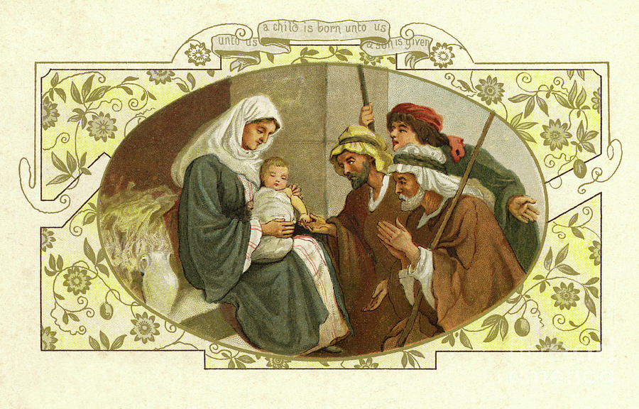 Nativity Drawing - Vintage British Christmas Card With Nativity Scene by English School