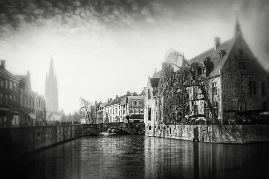Vintage Bruges Belgium Black And White Photograph