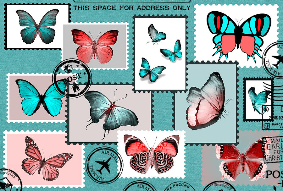 Vintage Pyrography - Vintage Butterfly Stamps  by Mark Ashkenazi