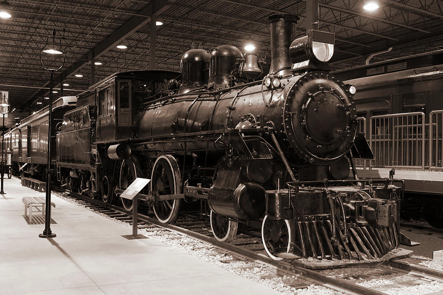 Vintage B&w Passenger Train And Station Photograph by Buzbuzzer