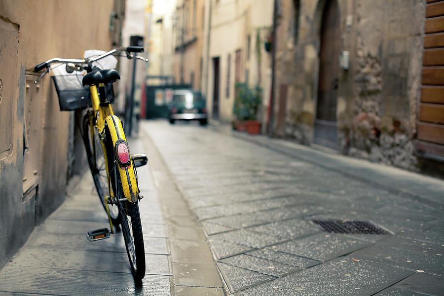 Vintage Bycicle Leaning On The Wall Photograph by Zodebala