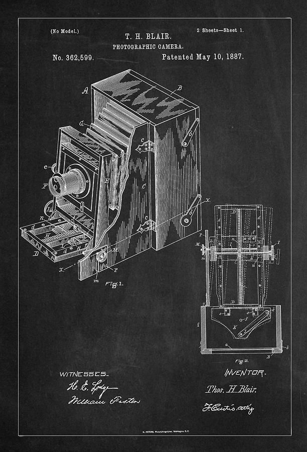 Vintage Camera Patent Drawing From 1887 by Carlos Diazatent Drawing From 1887