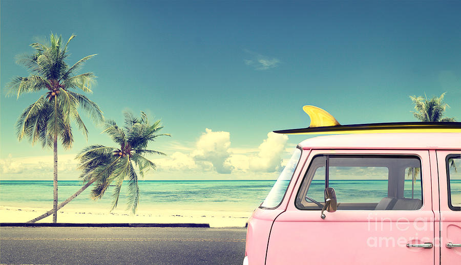Pink Photograph - Vintage Car In The Beach With A by Jakkapan