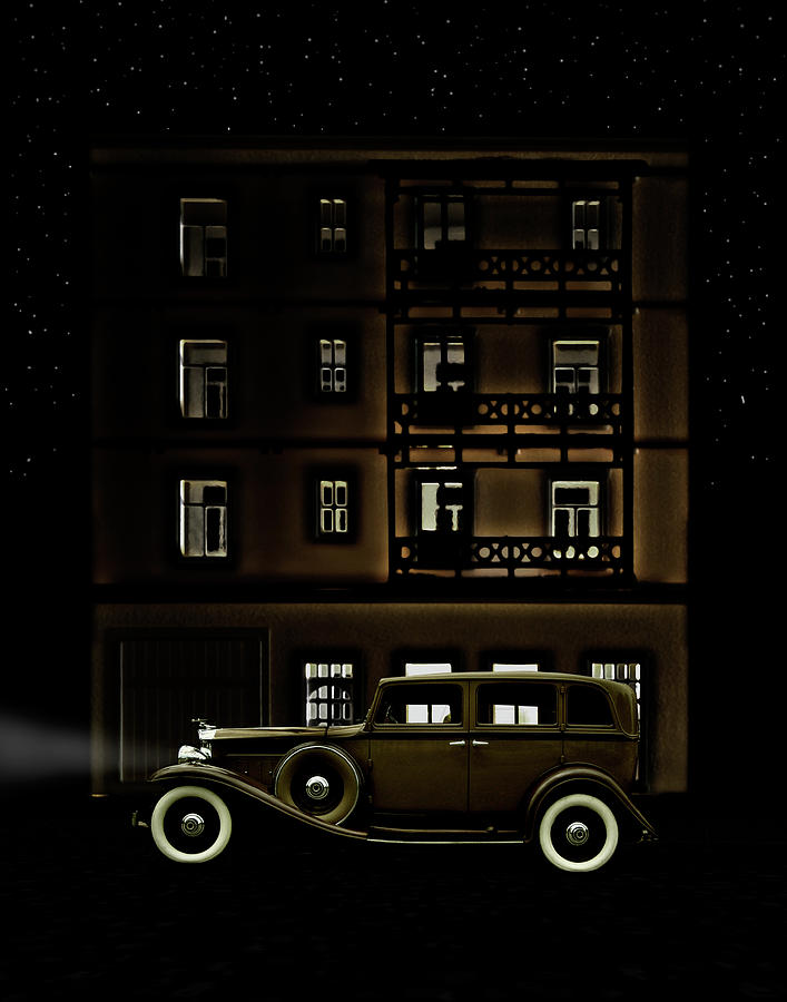 Vintage Car Outside Apartment Block At Photograph by Michael Duva