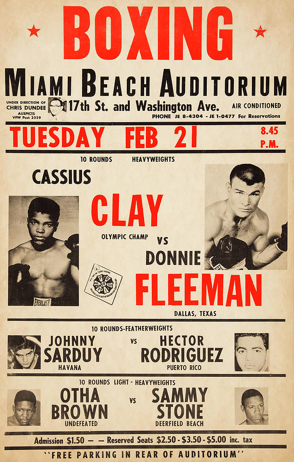 Vintage Cassius Clay Boxing Card Poster 1961 Photograph By
