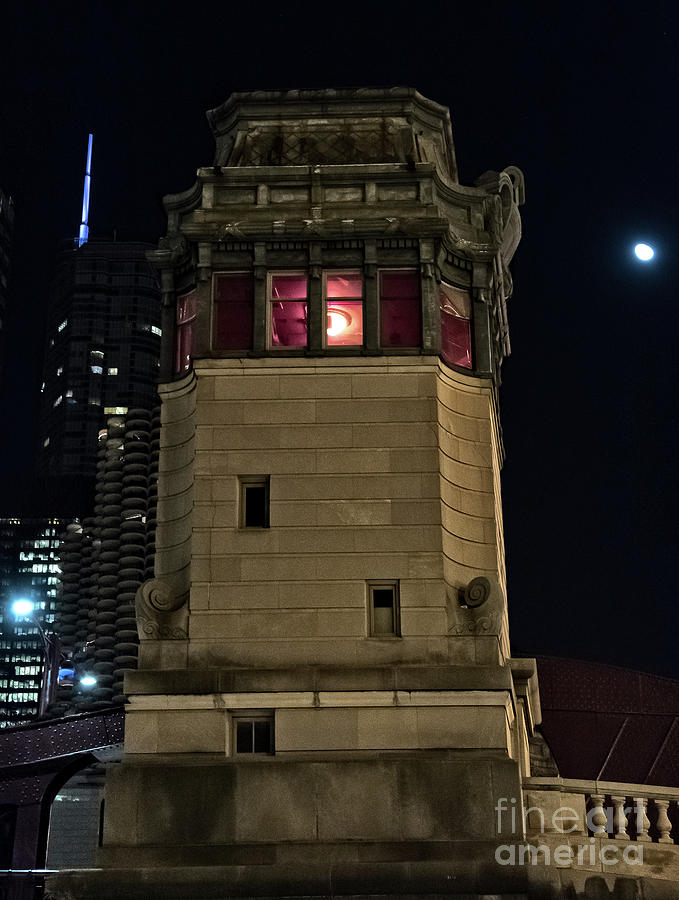 Black Photograph - Vintage Chicago Bridge Tower At Night by Bruno Passigatti