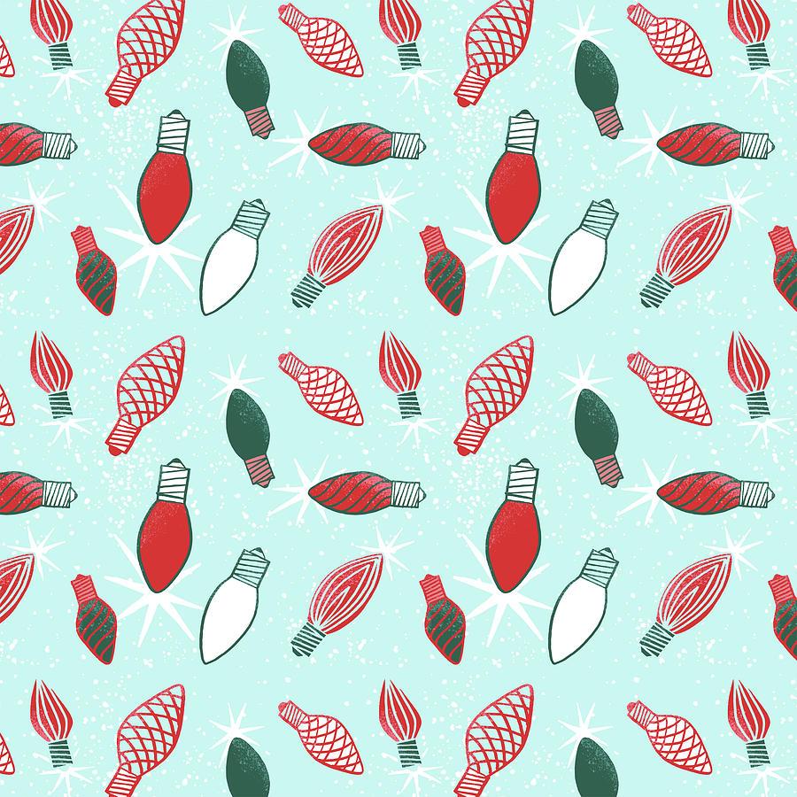 Vintage Christmas Bulb Pattern by Jen Montgomery
