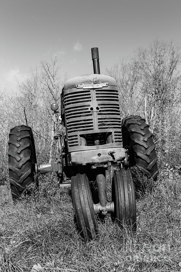Tractor Photograph - Vintage Farmall Tractor Springfield Nh Bw by Edward Fielding