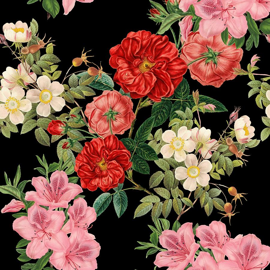 Vintage Floral Pattern on Black by Marianna Mills