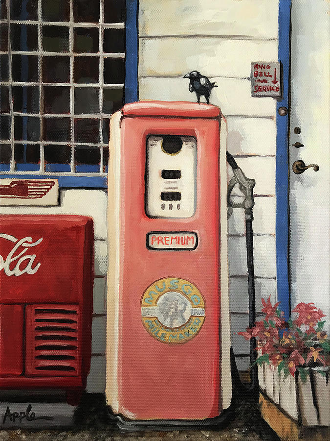 Ring Bell for Service /Vintage Gas Pump by Linda Apple