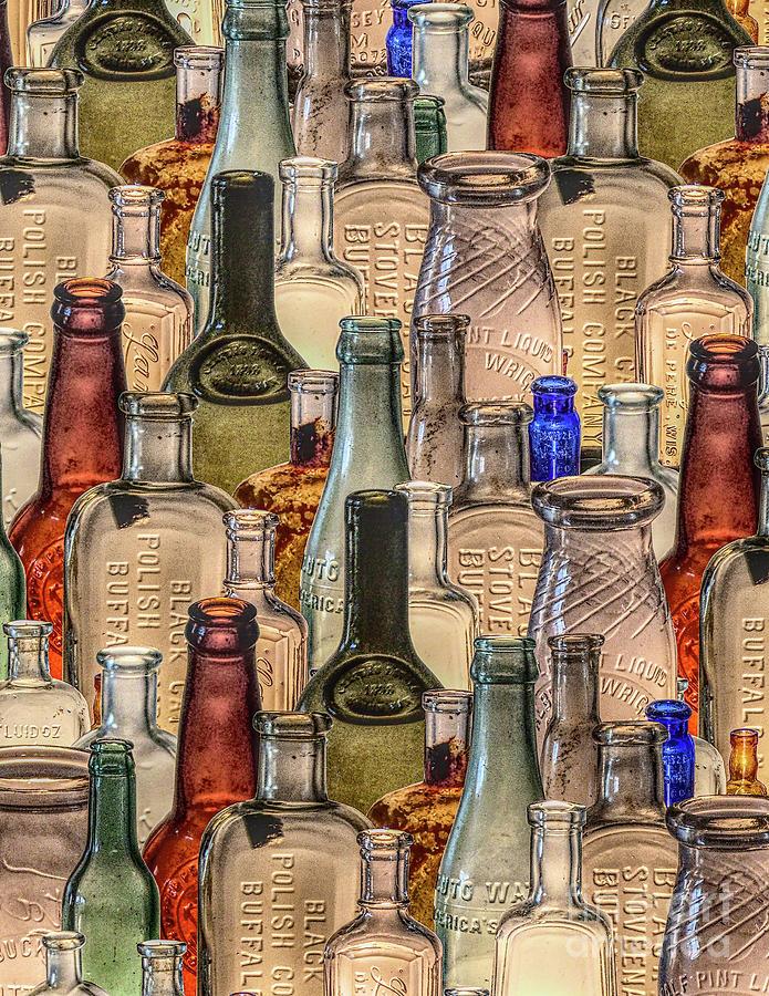 Vintage Digital Art - Vintage Glass Bottles Collage by Phil Perkins