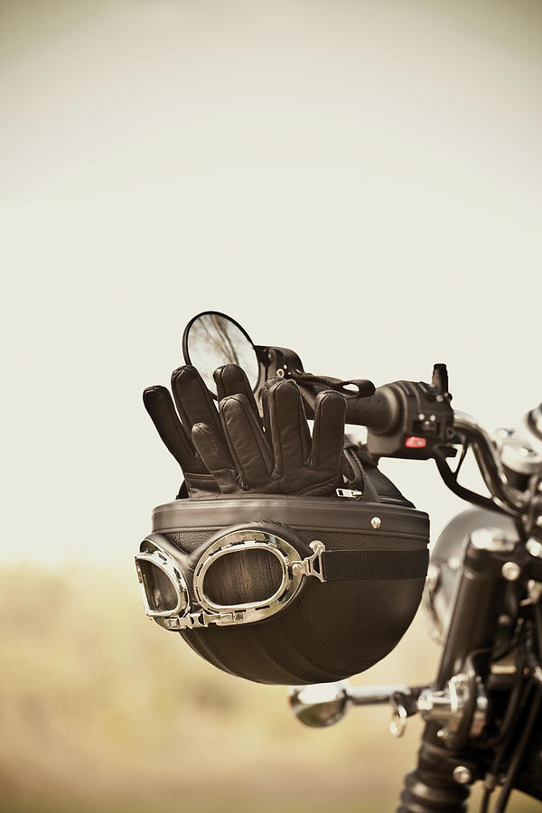 Vintage Helmet And Gloves On Motorcycle Photograph by Vtwinpixel