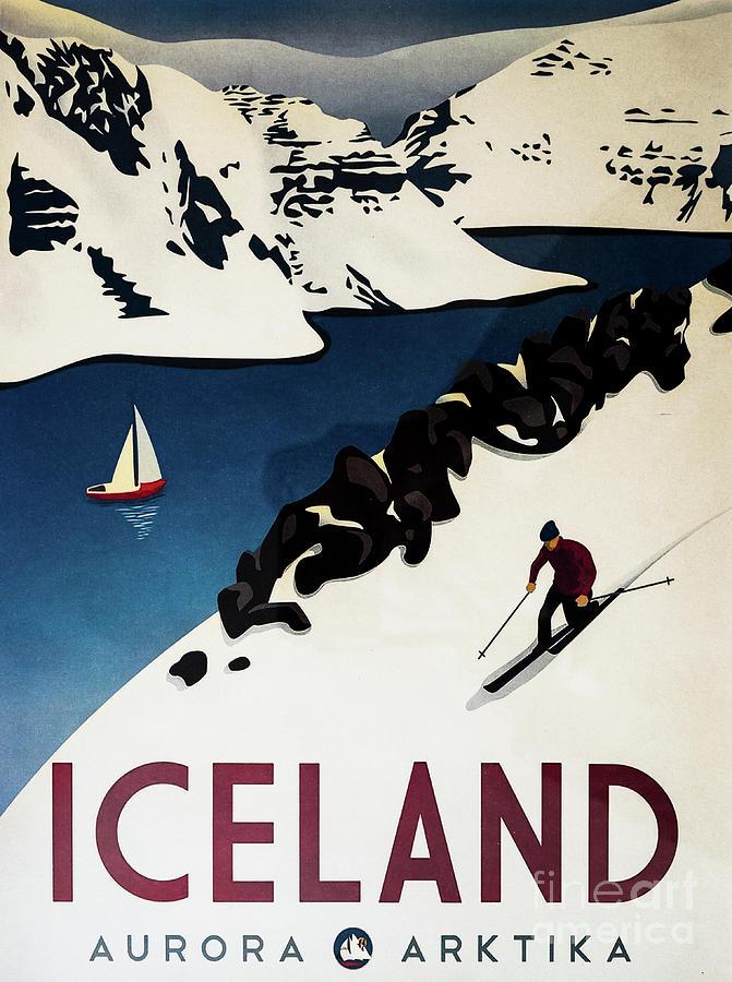 Vintage Iceland Travel Poster 1 by M G Whittingham