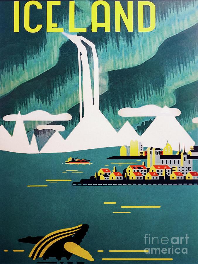 Vintage Iceland Travel Poster 2 by M G Whittingham