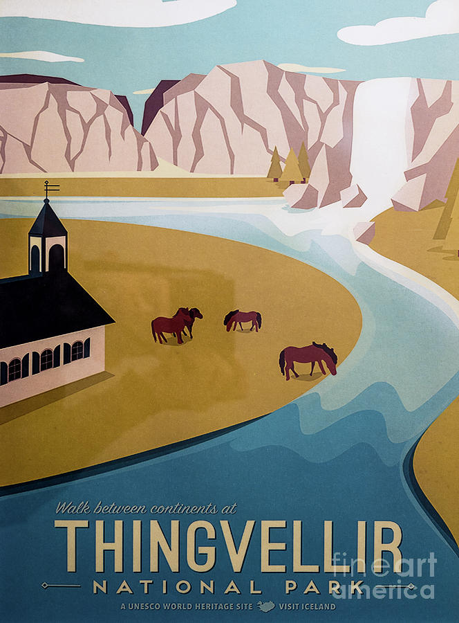 Vintage Iceland Travel Poster 3 by Miles Whittingham