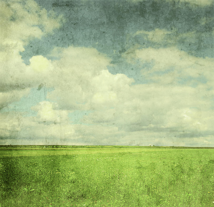 Scenic Photograph - Vintage Image Of Green Field And Blue by Jasmina007