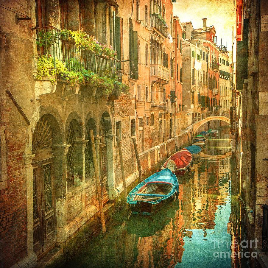 Romance Photograph - Vintage Image Of Venetian Canals by Javarman