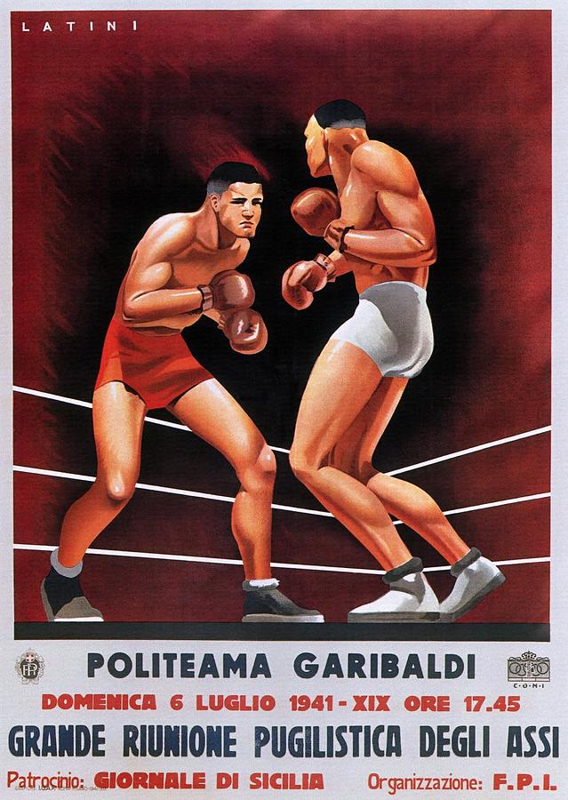 Boxing Painting - Vintage Italian Boxing Poster by Unknown