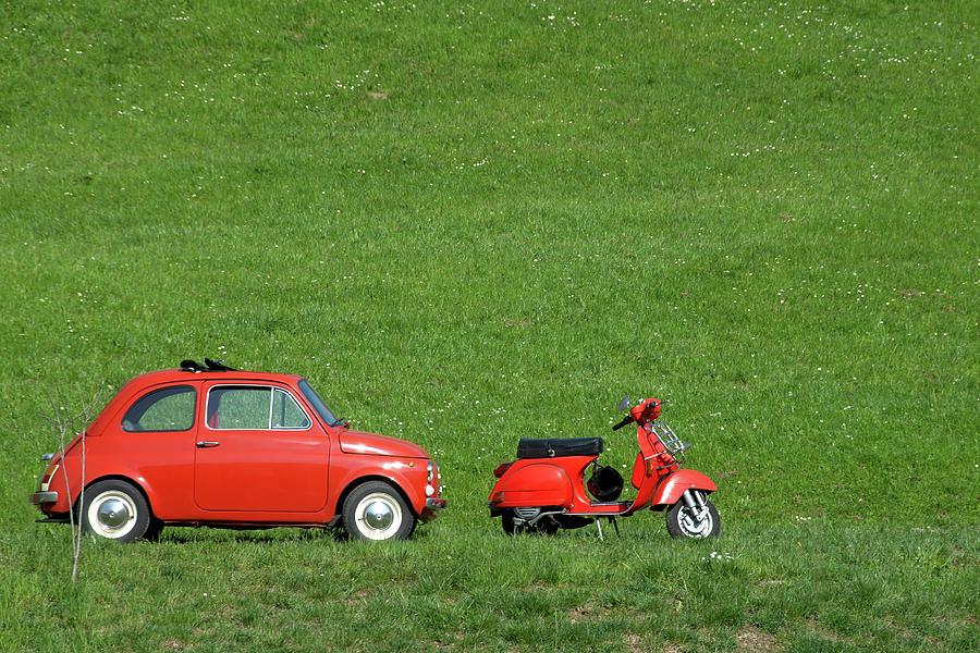 Vintage Italian Car & Bike Photograph by Pieroannoni