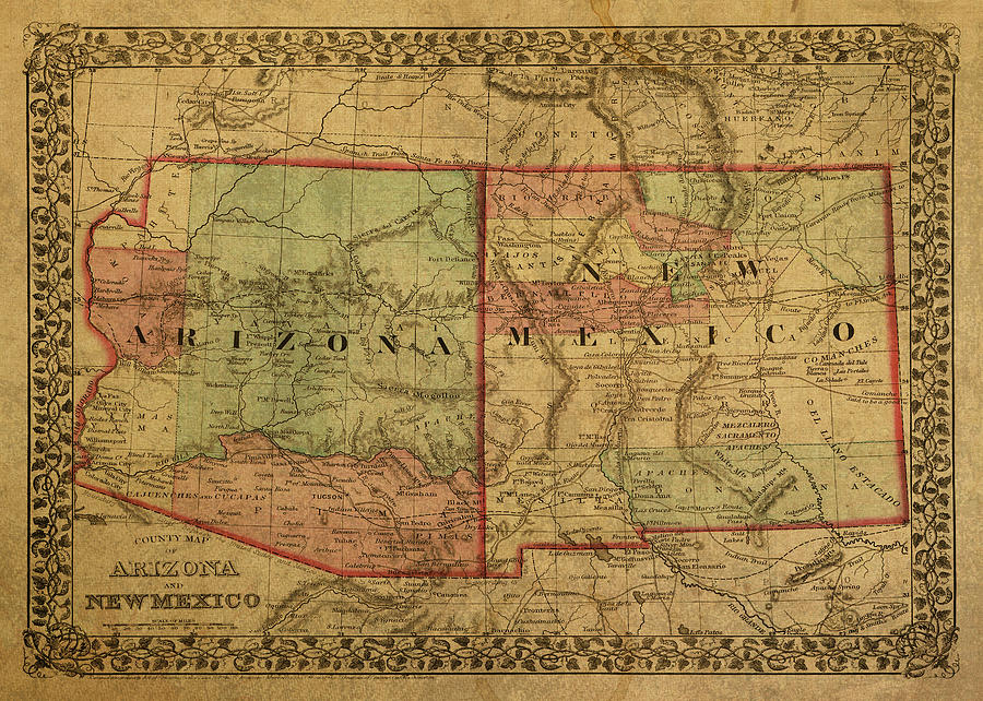 Vintage Map Of Arizona And New Mexico