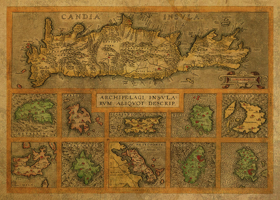 Vintage Mixed Media - Vintage Map Of Crete And The Greek Isles by Design Turnpike